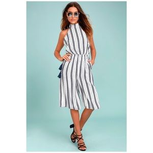 Lulus The Sea What I Mean Navy Striped Jumpsuit
